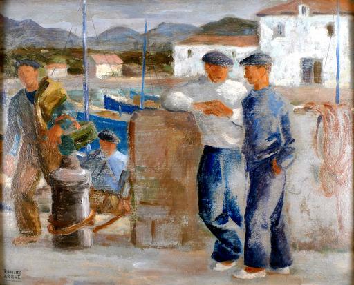 Ramiro ARRUE - Pintura - Marineros en el muelle