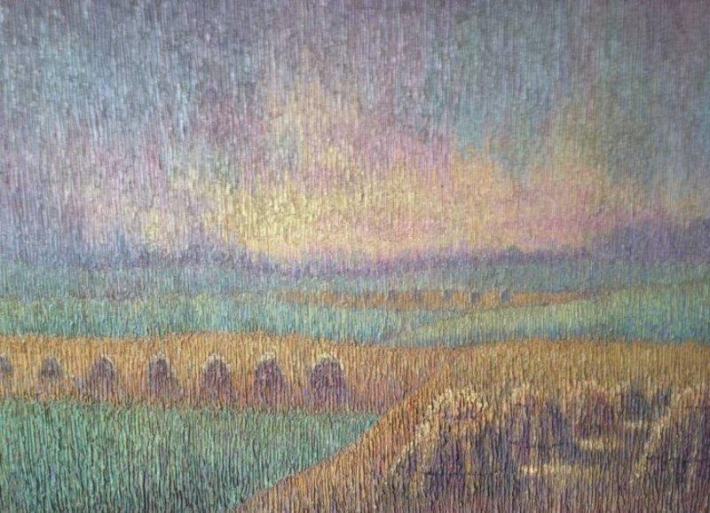 Léo VAN CAUWENBERGH - Peinture - Landschap bij zonsondergang