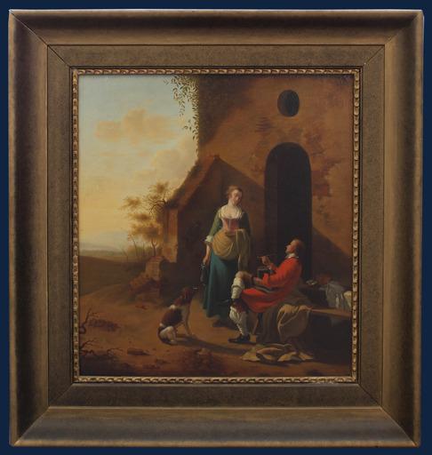 Justus JUNCKER - Painting - Conversazione all'imbrunire