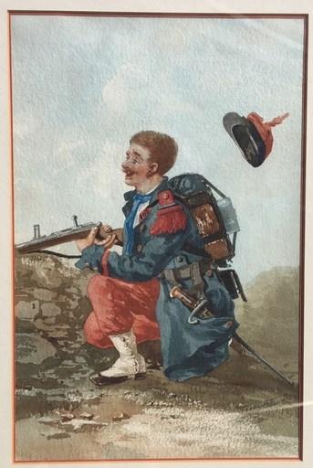 Louis Alfred MEYRET - Dibujo Acuarela - fantassin du 107e balle dans la casquette