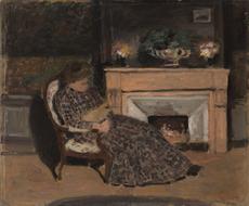 Albert ANDRÉ - 绘画 - Malek, épouse du peintre dans son fauteuil avec son chat