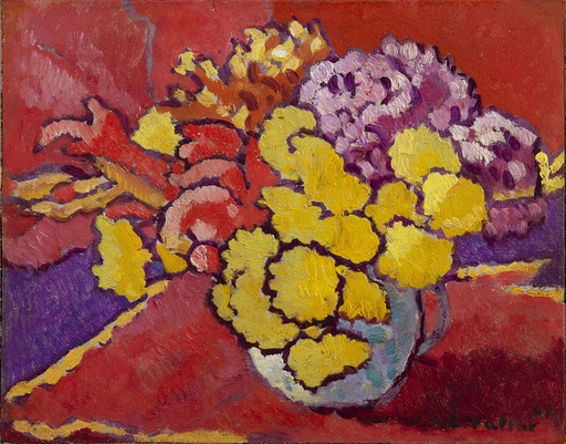Louis VALTAT - Pintura - Fleurs jaunes, draperie rouge
