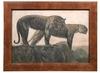 Paul JOUVE - Pintura - Deux tigres sur les remparts, citadelle de Hué