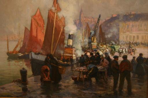 Henri Alphonse BARNOIN - Peinture - Le port de Boulogne