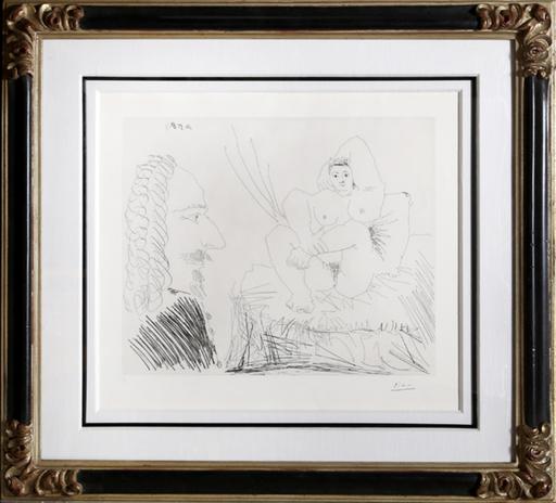 Pablo PICASSO - Stampa Multiplo - Courtisane au lit avec un visiteur (Bloch 1553)