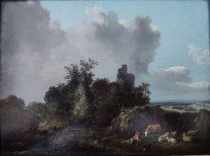 Jacques Antoine VALLIN - 绘画 - paysage d'Italie