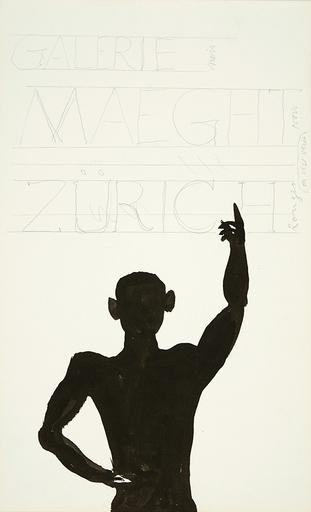 Alexander CALDER - Dessin-Aquarelle - Etude pour la Galerie Maeght, Zurich