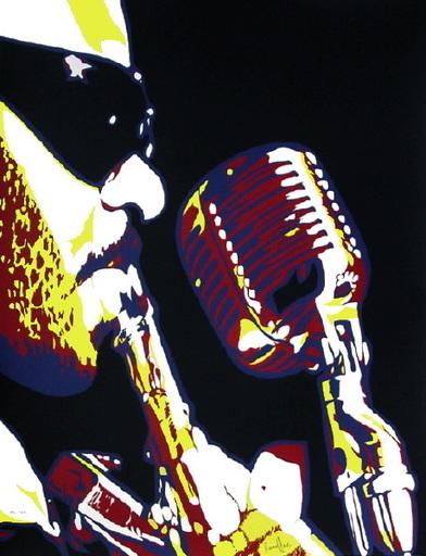 Bernard RANCILLAC - 版画 - Roland Kirk au micro