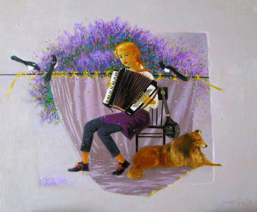 Tatjana PALCUKA - Painting - Accordeon time    (Cat N° 5507)