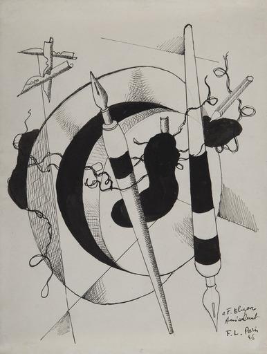 Fernand LÉGER - Dessin-Aquarelle - Composition au porte plumes et crayon