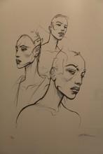 Enki BILAL - Print-Multiple - Sérigraphie rehaussée représentant trois bustes de femmes