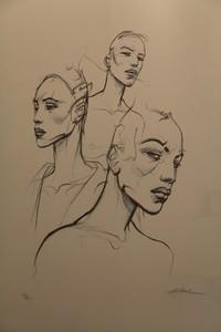 Enki BILAL - Druckgrafik-Multiple - Sérigraphie rehaussée représentant trois bustes de femmes