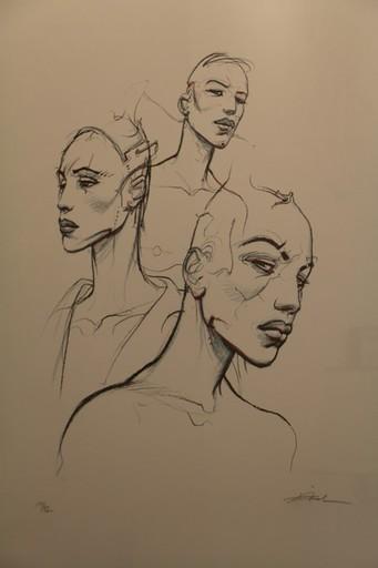 Enki BILAL - Grabado - Sérigraphie rehaussée représentant trois bustes de femmes