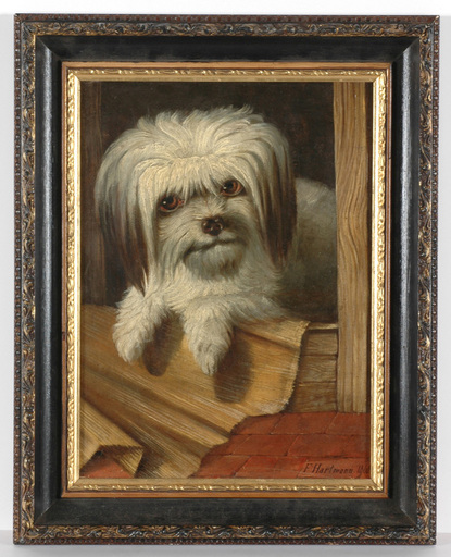 "Friedrich HARTMANN - Painting - ""Portrait of a dog"", oil painting, 1868"
