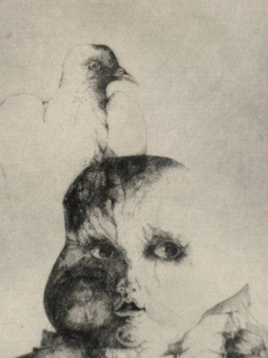 Hella ROST - Estampe-Multiple - L'ENFANT AU PIGEON