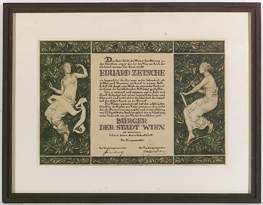 """Hans STROHOFER - 水彩作品 - """"Diploma of honorary Citizen of Vienna"""", 1925, Drawing"""