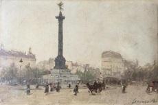 Gaspar MIRO LLEO - Painting - Place de la Bastille Paris