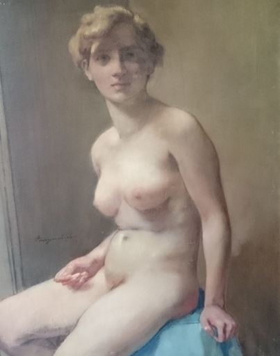 Georges VAN ZEVENBERGHEN - Pintura - zittend naakt