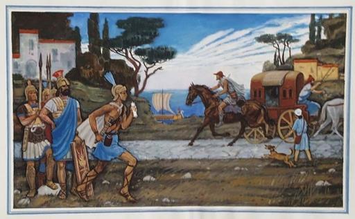 "Lev Michailovitsch KHAILOV - 水彩作品 - ""Messenger in Antique Rome"" by Lev Khailov, ca 1980"