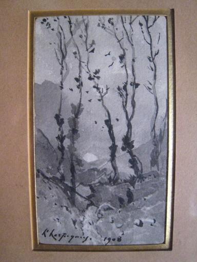 Henri Joseph HARPIGNIES - Zeichnung Aquarell - PAYSAGE AUX GRANDS ARBRES 1908