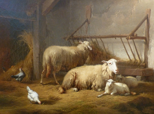 Eugène VERBOECKHOVEN - Peinture - IN THE STABLE