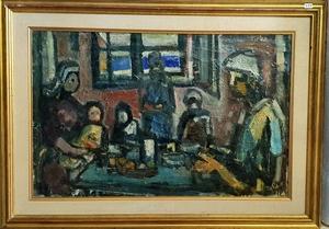 Aharon GILADI - Pintura - Dinning Room in the Kibbutz
