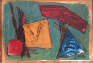Marcel JANCO - Painting - Yellow Square, Red Square and Blue Triangle