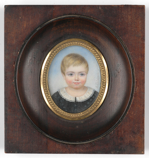 "Adèle POISSANT - Miniature - ""Portrait of a child"" miniature on ivory, ca. 1840"
