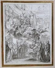 Charles-Nicolas II COCHIN - Dibujo Acuarela - Apothéose de Louis XIV et du Dauphin