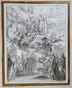Charles-Nicolas II COCHIN - Drawing-Watercolor - Apothéose de Louis XIV et du Dauphin