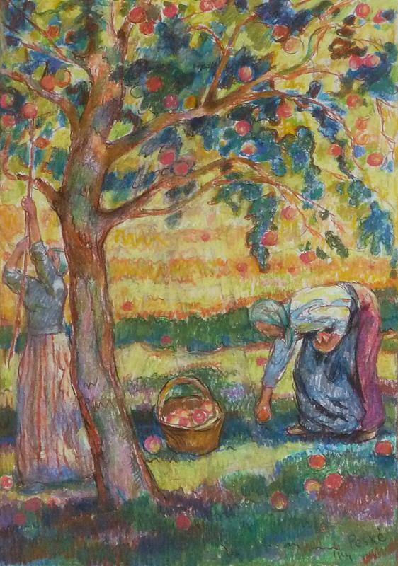 Jean PESKÉ - Zeichnung Aquarell - The Apple Pickers