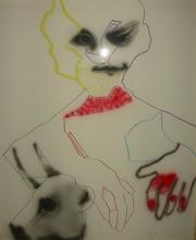Daniel SCHLIER - Drawing-Watercolor - Tête vache