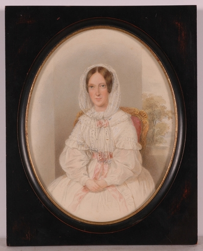 "Emanuel Thomas PETER - Miniature - ""Portrait of a Lady"", ca.1850, Watercolor"