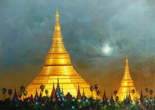 U MIN SOE - Painting - shwedagon complex at night