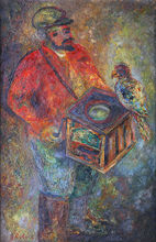 Issachar Ber RYBACK - Painting - Organ Grinder with a Parrot, 1932