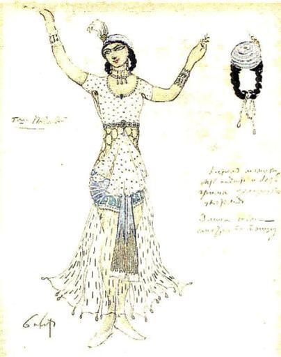 Léon BAKST - Grabado - Costume design for A. Pavlova.