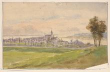 """Vincenz HAVLICEK - Dibujo Acuarela - Vincenz Havlicek (1864-1915) """"Monastery at lake"""" watercolor"""