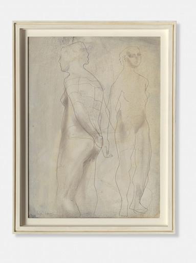 Barbara HEPWORTH - Drawing-Watercolor - Two Figures, Blue Grey