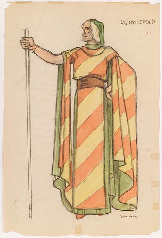 """Remigius GEYLING - Zeichnung Aquarell - """"Stage Costume Design"""", ca.1900"""