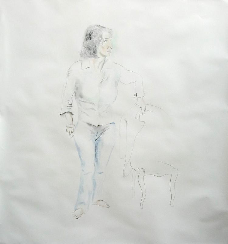 Manuel MONTERO - Dessin-Aquarelle - Journée de pose (Isabel)
