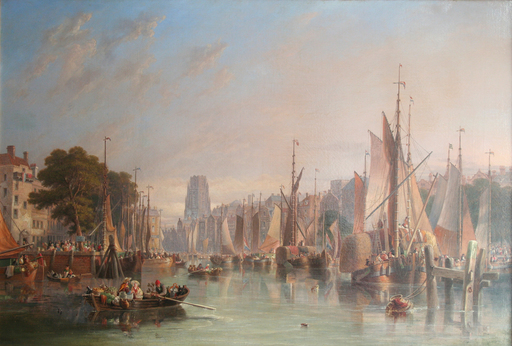 James Wilson CARMICHAEL - Painting - Port of Rotterdam (Leuvehaven or Oude Haven)