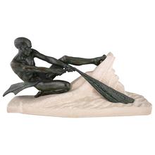 Max LE VERRIER - Sculpture-Volume - Art Deco sculpture athletic male nude fisherman