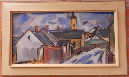 Peter MATEJKA - Painting - Dedina s kostolom