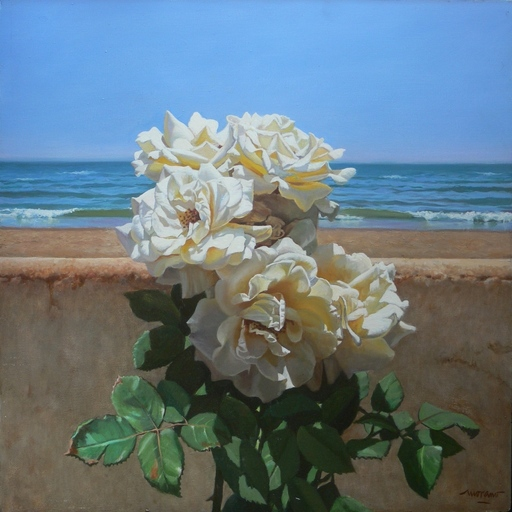Antonio MORANO - Pintura - Rosas en la playa