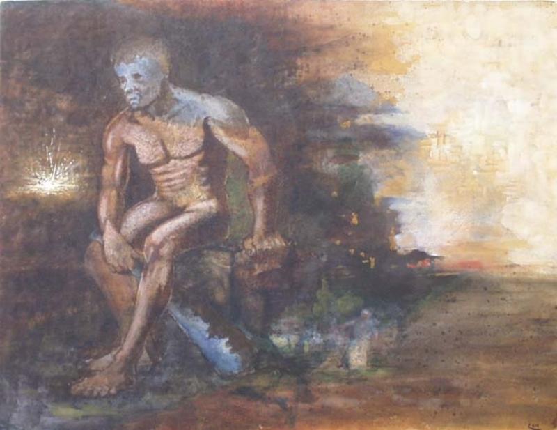 "Ernst BECK - Zeichnung Aquarell - ""Giant"", Watercolour, 1920's"