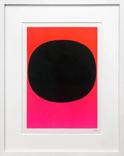 Rupprecht GEIGER - 版画 - Variation Runde Farbe I - schwarz auf leuchtrot-pink