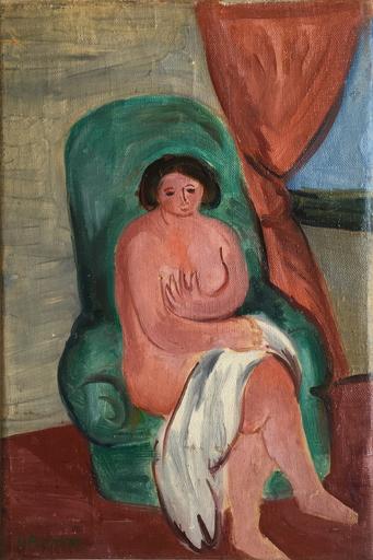 Yitzhak FRENKEL-FRENEL - Gemälde - Paire de toiles : nu et femme à la couture