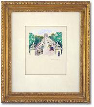 Kees VAN DONGEN - Drawing-Watercolor - Les Chevaux de Marly et les Champs-Elysees