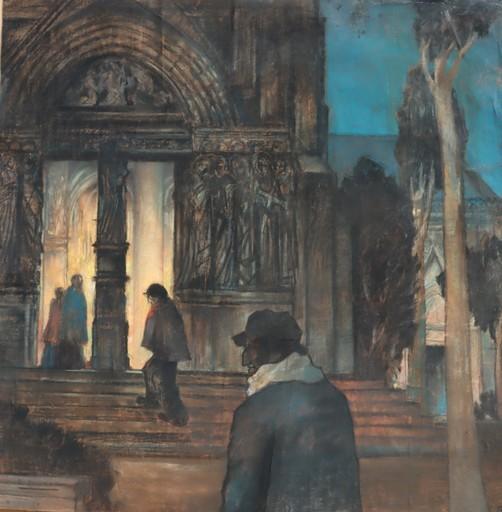 "Raymond DIERICKX - Drawing-Watercolor - ""MESSE DE MINUIT/PROCESSION"""