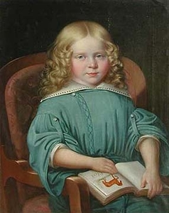 Martin JABLONSKI - Peinture - Portrait of a Girl with a Book